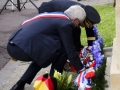 Jean Quetier, Mayor of Sainte-Mere-Eglise, France, and General Curtis M. Scaparrotti, Supreme Allied Commander Europe, place a wreath on the Alexandre Renaud Memorial during the a ceremony in Sainte-Mere-Eglise, France, May 31, 2018. Alexandre Renaud was mayor of Sainte-Mere-Eglise on D-Day and is responsible for rallying the citizens of his city to aid the Allies during the invasion.
