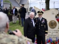 Maurice Renaud, son of Alexandre Renaud, and General Curtis M. Scaparrotti, Supreme Allied Commander Europe, pose for a photo in front of the Alexandre Renaud Memorial in Sainte-Mere-Eglise, France, May 31, 2018.