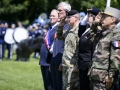 General Curtis M. Scaparrotti, center, Supreme Allied Commander Europe, salutes alongside French civilian and military leaders during the Iron Mike Ceremony in La Fiere, France, June 3, 2018.